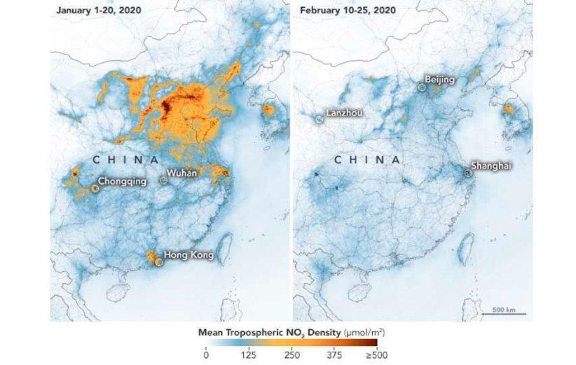 کاهش شدید غلظت آلاینده های هوا در چین بر اثر شیوع ویروس کرونا