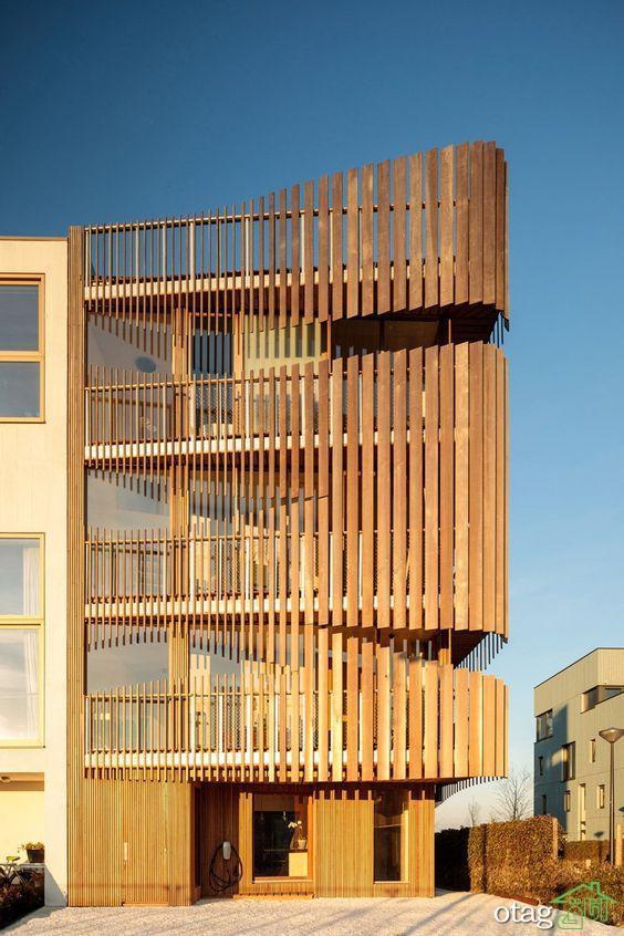 35 مدل نمای چوبی ساختمان مدرن و هوشمندانه در سال 1400